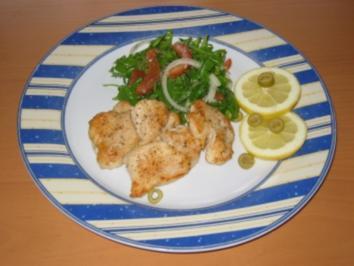 Rezept: Hähnchenschnitzelchen mit Rucolasalat