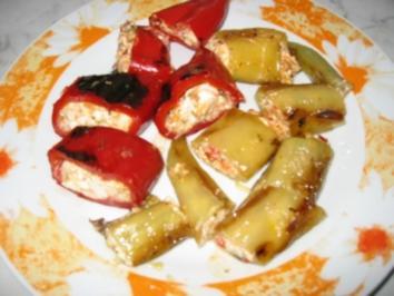 Paprika gefüllt mit Schafskäse - Rezept