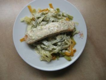 Lachs mit Bandnudeln an Dill-Senf-Soße - Rezept