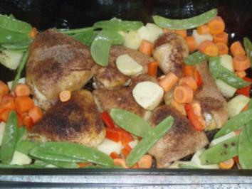 Hähnchenkeulen auf Röstgemüse - Rezept