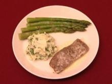 Kalbsrücken mit Kartoffelschnittlauchpüree und Zitronenbutter (Thorsten Nindel) - Rezept