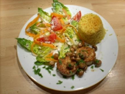 Marinierte Geflügel-Medaillons an Curryreis - Rezept