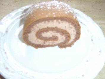 Biskuit-Schoko-Rolle - Rezept