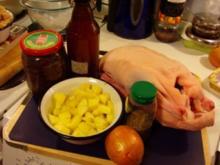 Apfel - Thymian - Ente, mit Rotkohl und Böhmischen Knödeln - Rezept
