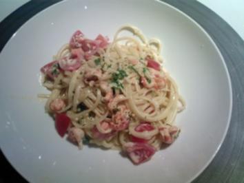 Spaghetti mit Scampi in Tomatensahnesauce - Rezept
