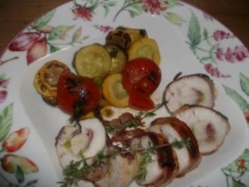 Gefüllte Hähnchenbrust mit buntem Gemüse - Rezept