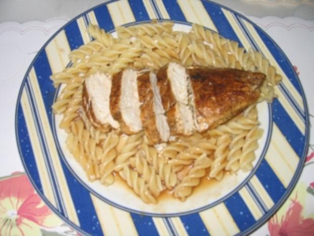 Hauptgericht: Hähnchenbrustfilet, Geflügelsoße mit Spirelli und Tomatensalat - Rezept - Bild Nr. 7