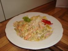Nudelgericht - Pfefferminz- oder Basilikumnudeln mit Sahnesoße - Rezept