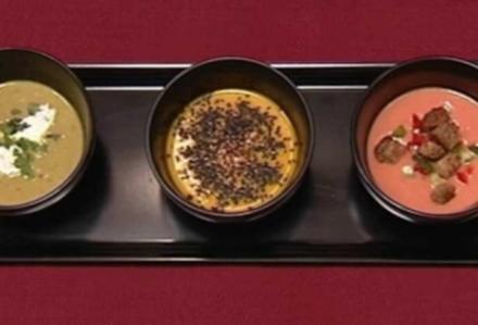 Gazpacho, Karotten-Kokos-Suppe und Erbsencremesuppe (Sharon Brauner) - Rezept