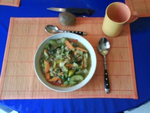 Eintopf: Bunter Gemüse-Grünkerneintopf - Rezept
