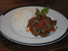 Spicy Beef mit Thai-Basilikum und Basmati-Reis - Rezept