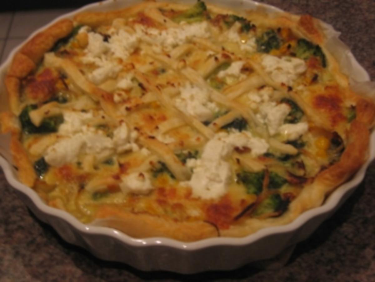 brokkoli spinat quiche mit ziegenkäse topping rezept