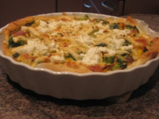 Brokkoli-Spinat Quiche mit Ziegenkäse Topping - Rezept - Bild Nr. 2