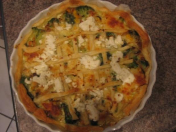 Brokkoli-Spinat Quiche mit Ziegenkäse Topping - Rezept - Bild Nr. 3