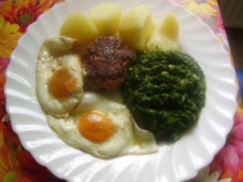Spinat - Spiegelei - Klops - Salzkartoffeln - Rezept