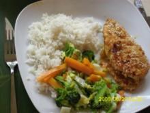 Fleisch:  Mariniertes Hähnchenbrustfilet in Sesampanade an Wokgemüse und Kokosreis - Rezept