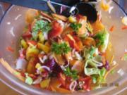 Bunter Karotten-Paprikasalat mit Orangen - Limetten Dressing - Rezept