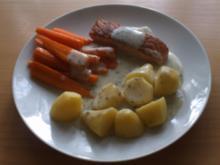 Frischkäse-Kräuter-Soße zu Lachsfilet und Möhren - Rezept