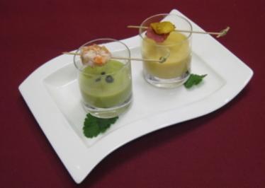 Zweierlei Cremesuppen im Glas - Rezept