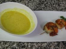 Cappuccino von Curry und Zitronengras mit Gamberettispieß - Rezept