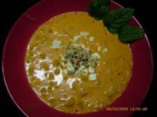 Auberginen - Paprika - Suppe mit Hackfleisch - Rezept