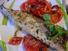 Makrele im Ofen gegrillt mit Paprika-Tomaten-Beilage - Rezept