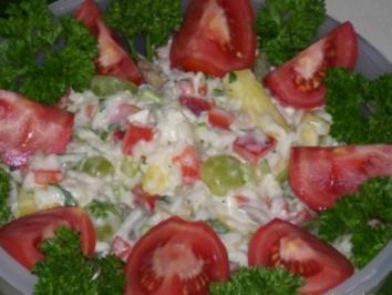 Salat:  Fruchtiger Gemüse-Reissalat mit Hähnchenbrustfilet - Rezept