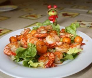 Honigmelone trifft Riesengarnele im Salatbett - Rezept