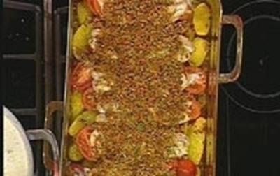 Rezept: Fischgratin mit Chorizo-Bröseln
