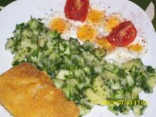 Fisch:  Lachsfilet im Maisgriesmantel mit Kräuterkartoffelsalat - Rezept