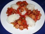 Würstchen-Gemüsegulasch mit Basmati-Reis - Rezept