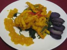 Seezungen-Knusperkroketten mit Trüffelkartoffeln und Mango-Chutney - Rezept