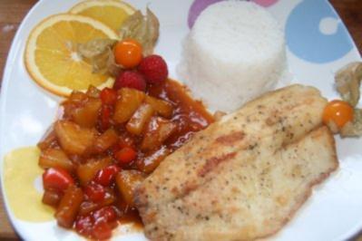 Pangasius - Filet süßsauer, mit Ananas und Paprika - Rezept