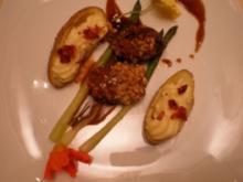 Rehrückenfilet mit Walnusskruste an Rotweinsoße und grünem Spargel - Rezept
