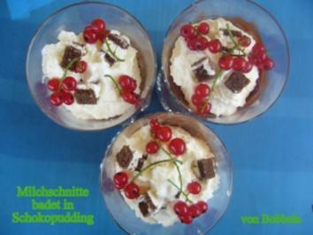 Dessert: Milchschnitte flüchtet in Schokopudding - Rezept