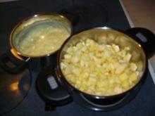 Vanillecreme mit Apfel & Pflaumen - Rezept