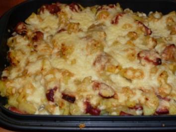Blumenkohl-Kartoffel-Auflauf mit Kabanossi - Rezept