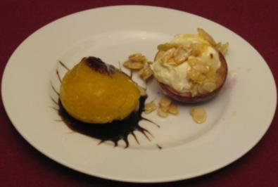 Gegrillter Pfirsich mit Mascarpone-Haube und Sorbet - Rezept