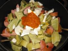 Maultaschen-Fleischwurst-Mozzarella-Pfanne - Rezept