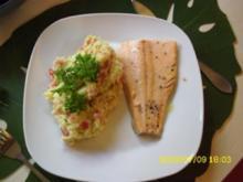 Fisch:   Lachsforellenfilet an Tomaten-Pesto-Kartoffelpürree - Rezept