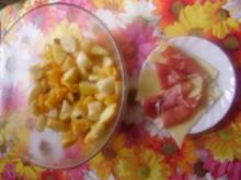 Obstsalat + Käse + Serranoschinken = mein Abenbrot - Rezept
