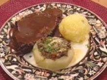 Sächsischer Sauerbraten mit Aprikosenknödel & Kohlrabischiffchen - Rezept