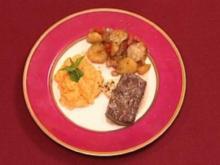Lamm in Pfefferminzsoße mit Balsamicogemüse und Rübenpüree (Bill Mockridge) - Rezept