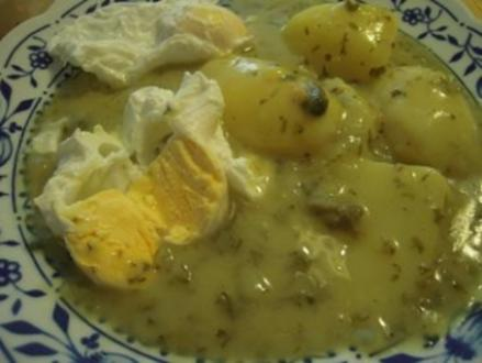 Pochierte Eier in grüner Soße - Rezept