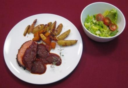 Schweineschinkenbraten in BBQ-Whisky-Soße mit Kartoffeln und Ben-Hur-Salat - Vom Winde verweht - Rezept