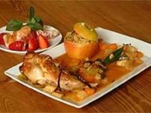 In Vanille geschmorte Kaninchenkeule mit Chili-Bratapfel - Rezept