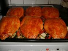 Hähnchenbrust auf buntem Gemüse vom Blech - Rezept