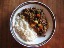 Scharf angebratenes Mett mit Reis - Rezept