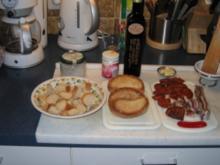Knoblauch-Brotwürfel mit Chorizo - Rezept