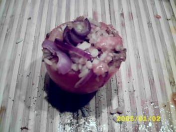 Leichtes Sommeressen:Tomaten gefüllt mit frischem Reissalat - Rezept